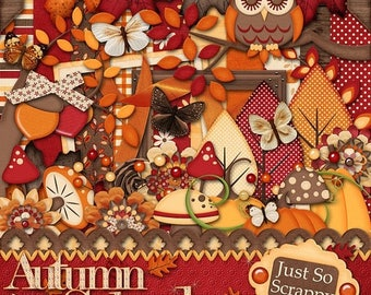 On Sale 50% Digital Scrapbooking Autumn Splendor - Digital Scrapbook Kit