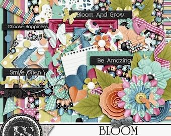 On Sale 50% Bloom Digital Scrapbook Kit , Scrapbooking