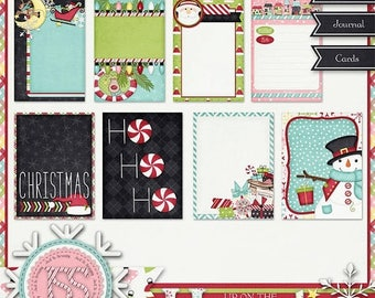 On Sale 50% Project Life,Journal Cards,Pocket Scrapbooking - Christmas,Holiday,Santa,Up On The Housetop Journal Cards, Digital Scrapbooking,