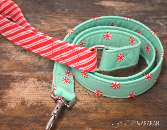 Leash for dog model Xmas Mints. Handmade with 100% cotton fabric and webbing.  Wakakan