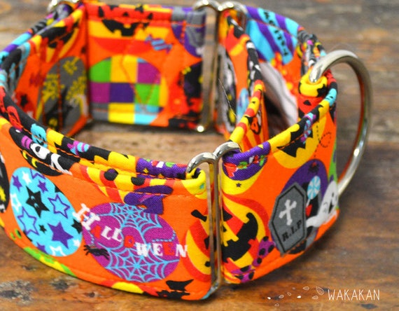 Martingale dog collar model Halloween Circus. Adjustable and handmade with 100% cotton fabric. Monster party Wakakan