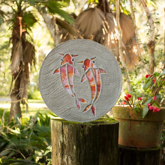 Koi Fish Goldfish Stepping Stone Made of Stained Glass and Concrete Perfect for Your Garden Patio or Back Yard Fish Pond or Pool Path #757