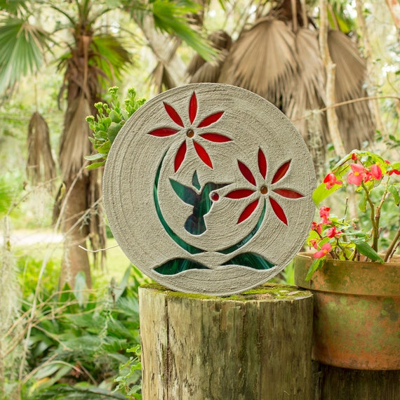 "Hummingbird Stained Glass Stepping Stone, 18"" Round Concrete Big & Strong Enough to Walk on Perfect for Your Garden, Patio, Back Yard #768"