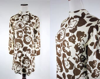 1960's Brown Floral Linen Long-sleeve Mini Dress