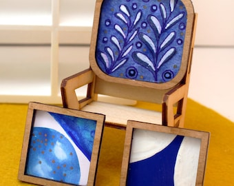 Set of 3 Miniature Artworks - Space-Age Blue Collection