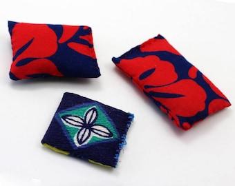 3 Pillow Set - Miniature Modern decor - Regal Red and Blue