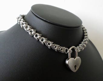 Stainless Steel Rosetta Chainmaille Heart Lock Necklace - High Quality Locking Discreet Gothic Day Collar