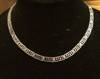 Thailand Silver Modern Art Deco Geometric Necklace