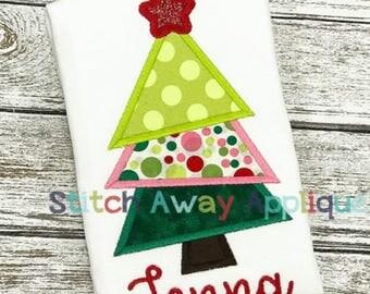 Slanted Tree Shirt, Slanted Tree Applique, Christmas Tree Shirt, XMAS Tree Shirt, Girl XMAS Shirt, Christmas Shirt, Girl Christmas
