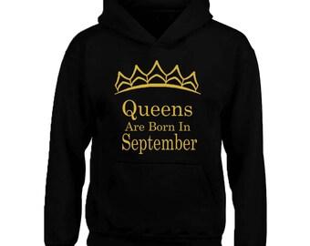 Tiara - Queens Are Born In SEPTEMBER HOODIE Sweatshirt Best Birthday GOLD Logo Queen Hoodie Sweater