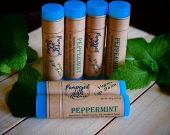 Natural Peppermint Vegan Lip Balm
