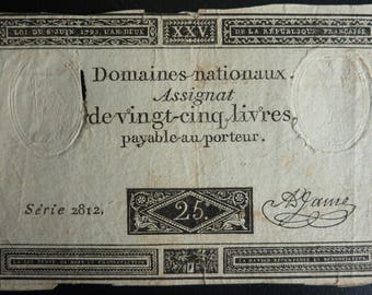 Genuine French Revolution Period Banknote. 25 Livres. Dated 1793.