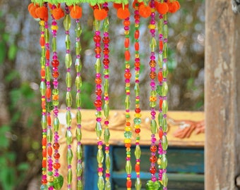 Rose pink Apple green orange and yellow gypsy Bohemian mobile-Wind Chime-Gypsy colorful mobile-Boho Wind Chime-bells mobile-dream catcher