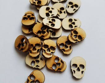 Set of 24 Small Wooden Skull Cut Outs ( Steam Punk Style, Buttons, Embellishments, Halloween Decoration )