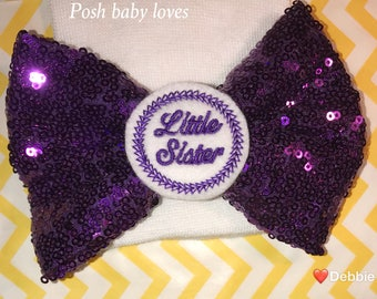 Newborn Hat Now with Purple Shimmer Bow and Purple Little Sister Embellishment Newborn Hospital Beanie.  Baby Newborn Hats.  Little Sister