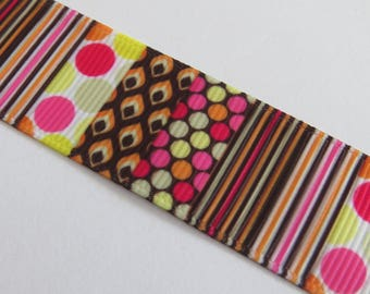Pretty pink, Brown and white patchwork style Ribbon