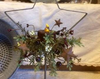 Primitive Star Pedestal Mantle/ Shelf Decor W/ Timer Tea Light Prim Home Accent Decoration