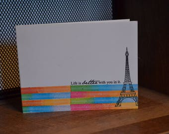 Life is Better With You in It Handmade Greeting Card Any Occasion Papercrafted