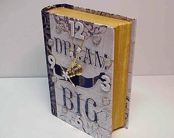 Dream Big aCharm Clock for Desk, Table or Dresser - Adorable Clock and Treasure Box in One - Special Hiding Place - Personalize it!