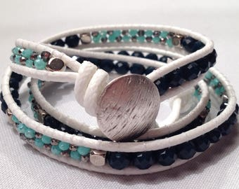 3X Wrap bracelet- Crystal Chineese  Glass on white leather, 3 wrap bracelet, Beaded bracelets, Boho jewelry,FZL