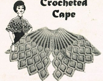 Ladies pineapple lace crochet cape vintage pattern PDF instant download