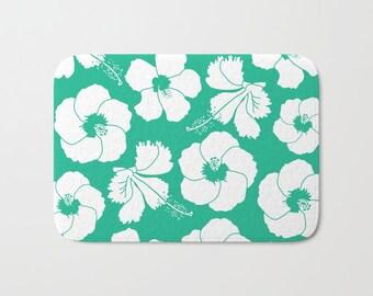 45 Colors Hawaiian Flowers Bath Mat, Hawaiian Bathroom Decor Turquoise  Tropical Flower Bath Mat,