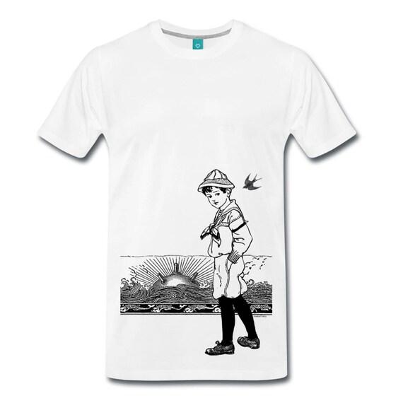 A Day At The Beach. Sunset Horizon Sailor Sea Mine Nautical Men's Ethically Produced Cotton T-Shirt *White* Sizes S-5XL. Plus Sizes.