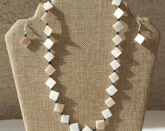 Mother of Pearl Necklace and Earring Set - One of a Kind