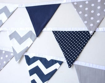 Navy and gray nursery, baby shower decor, baby boy nursery, first birthday, fabric bunting, birthday decorations, christening,pennant banner