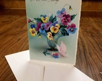 "Vintage Greeting Cards. 1960's Unused ""A Get Well Message"" Coronation Collection Card. With Envelope."