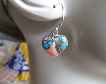 Handcrafted NEW Spiny Oyster & Arizona Turquoise 925 Sterling Silver Heart Dangle Earrings, Wt. 4.6 Grams