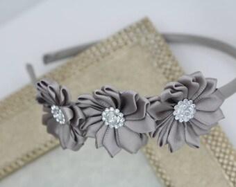 Gray headband, gray flower headband, satin girls headband, grey toddler headbands, Girls hard headband, girls headband, grey hair accessory