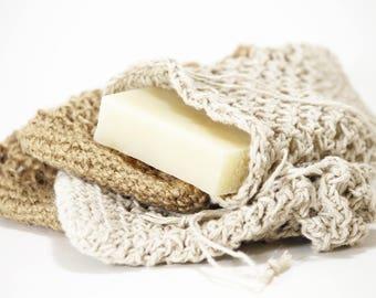 Natural Fiber Soap Pouch for Shower, Cassia Organics Soap Saver, Exfoliating Soap Sack, Handmade Soap Saver, Soap Saver Pouch, Gift Bag
