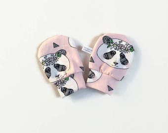 Pink baby mittens, baby scratch mitts. Jersey cotton knit with panda bears. Baby Gift Girl Hand Covers. Organic cotton