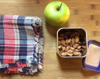 Natural Linen Fluffy Lunch Napkins, eco friendly linen napkins, red plaid lunch napkins,lunch for kids, christmas gift for teacher