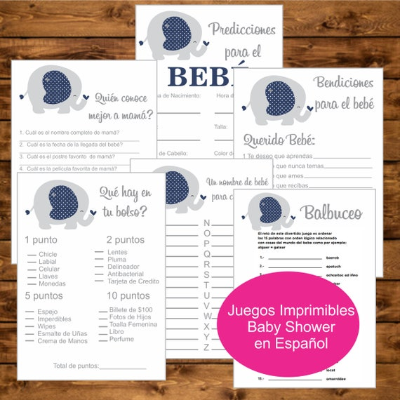 Baby Shower Juegos Imprimibles Instant Download Pack Juegos Para