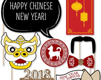2018 Chinese New Year Photo Booth Props - Year of the Dog Photobooth Kit - Chinese New Year Party Supplies - 20 Photo Props and Dowels
