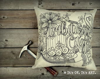 Ambitious City - Adult Coloring Pillow COVER ONLY-Funny pillow, Hamilton Ontario, couch cushion, decor pillow,   throw pillow
