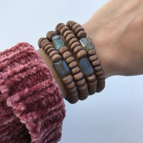 Cora Bracelet // labradorite and brown wood stretch bracelet