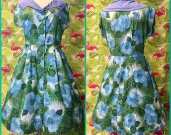 Plus size floral print 1950's day dress