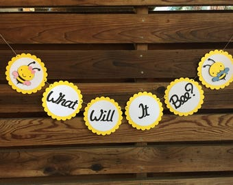 "Bee gender reveal party theme ""what will it bee?"" Banner (C)"