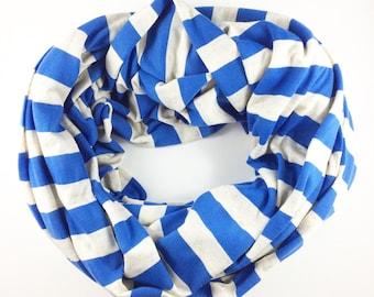 Blue Striped Infinity Nursing Scarf, Nursing Cover, Breastfeeding Cover, Breastfeeding Scarf