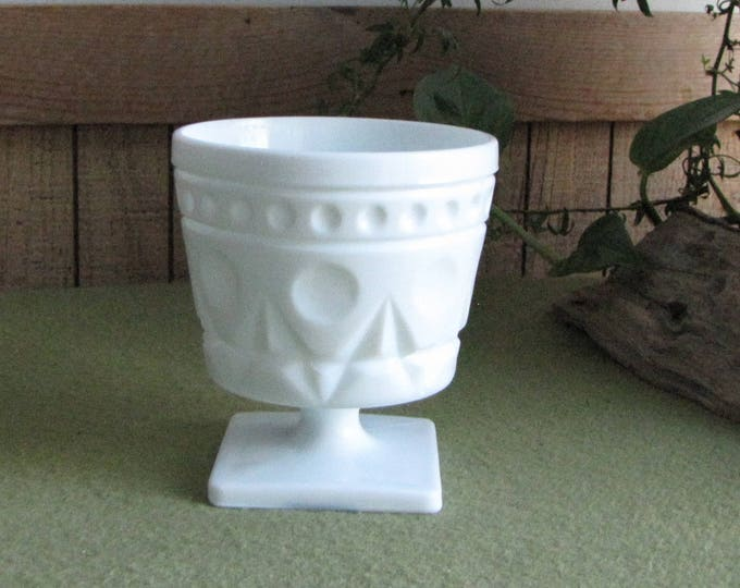 Vintage Milk Glass Footed Bowl Thumbprint and Dots Small Pedestal White Compote
