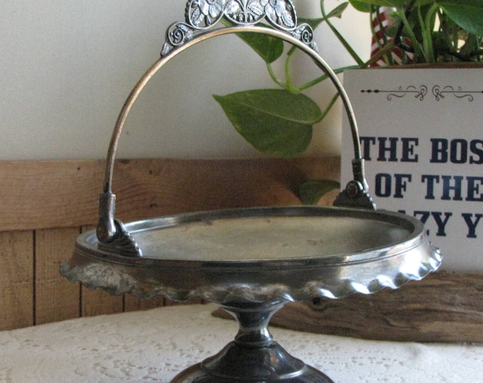 Antique Pairpoint Silver-Plate Brides Basket With Handle Footed Quadrupled Plated