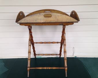 Antique  Oak Butler's Tray on Folding Stand c 1890 - Large Fold Down Tray - Night Stand - -Side Table