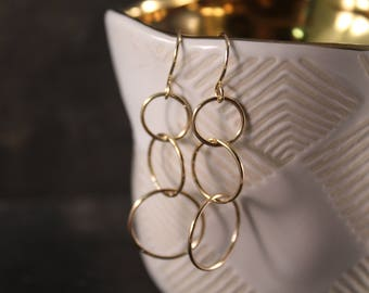 Three Link Circle Dangle Earrings (Gold Sterling Silver Rose Gold Dainty Eternity Infinity Gifts Under 50)