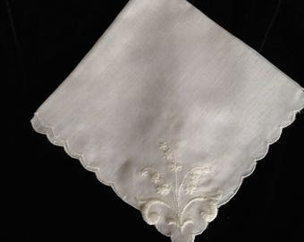 Vintage Handkerchief with Lily of the Valley