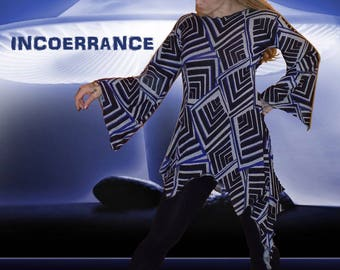 Sweater asymmetric tunic, long sweater, sweater, Bohemian, ethnic sweater 'Graffik world...'
