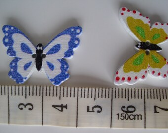 10 wooden Butterfly 20mm buttons