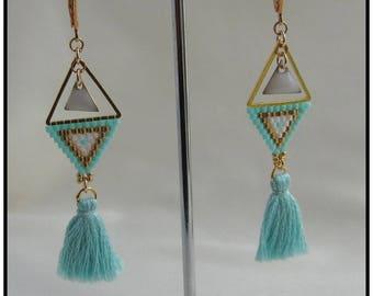 Earrings triangles and tassels